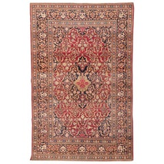 Keshan Wool Antique Rug, Flowers Classic Design