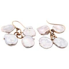 Keshi 14 Karat Yellow Gold Pearl Drop Earrings