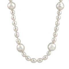 Keshi and Broome Circle Pearl Necklace on 14 Carat Gold Satin Ball Clasp