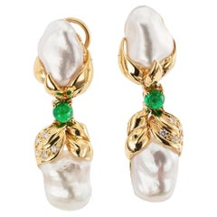 Keshi Cultured Pearl Diamond Emerald Gold Drop Earrings