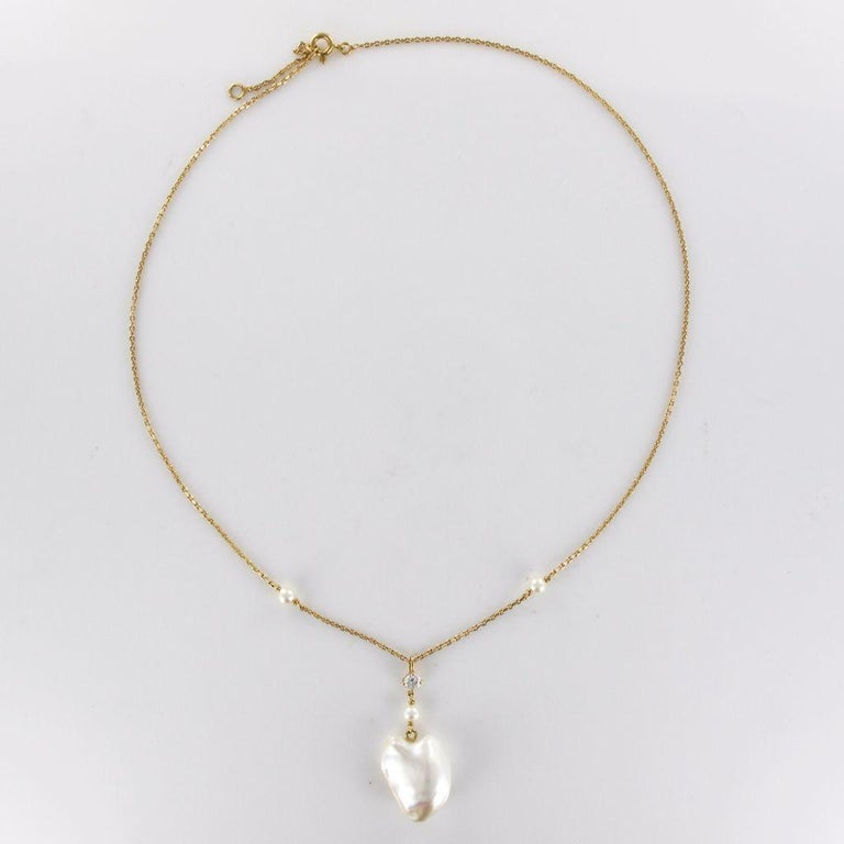 Keshi Natural Pearl Diamond Gold Pendant Necklace For Sale 8