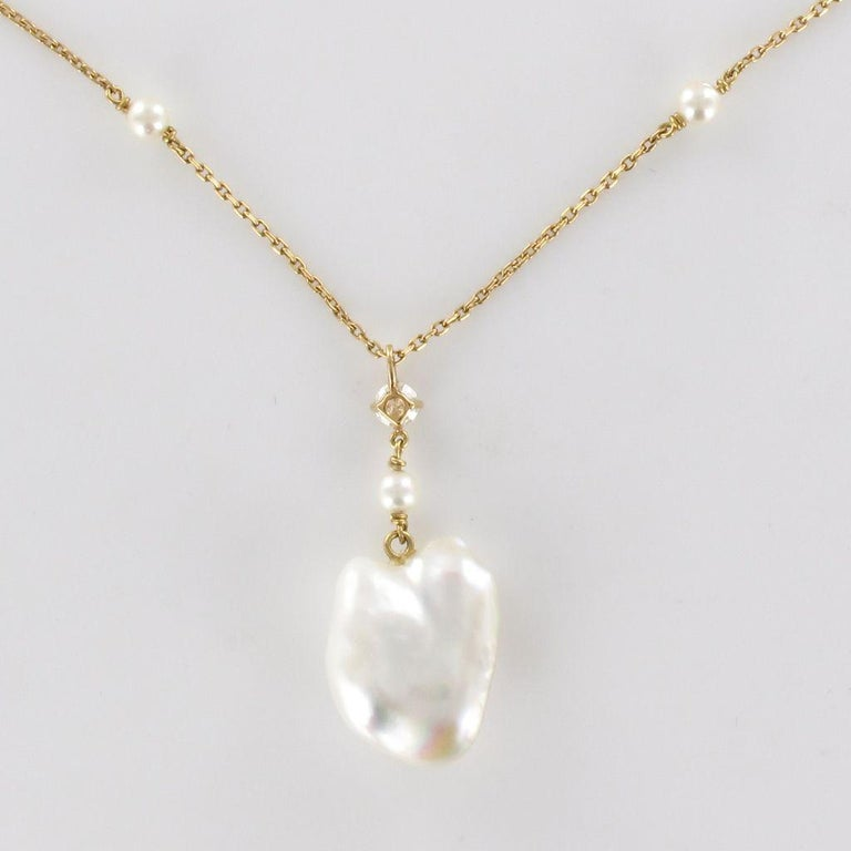 Keshi Natural Pearl Diamond Gold Pendant Necklace For Sale 9