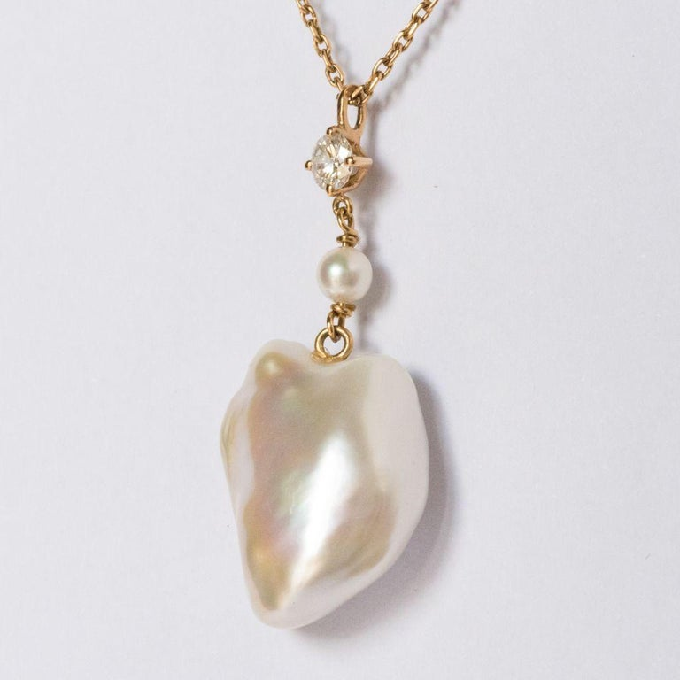 Keshi Natural Pearl Diamond Gold Pendant Necklace For Sale 2