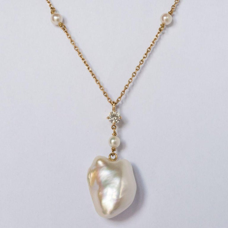 Keshi Natural Pearl Diamond Gold Pendant Necklace For Sale 5
