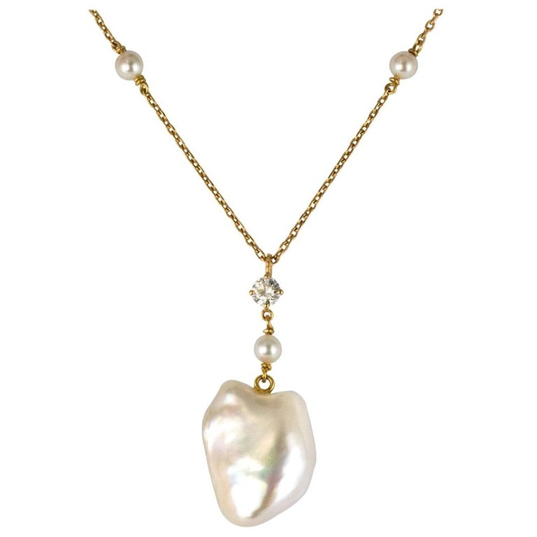 Keshi Natural Pearl Diamond Gold Pendant Necklace For Sale