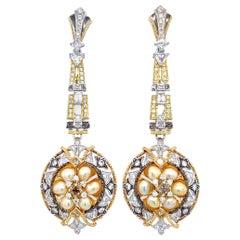 Keshi Pearl and Diamond Drop Earrings in 18 Karat Gold
