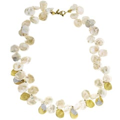 Keshi Pearl and Diamond Yellow Gold Necklace Stambolian
