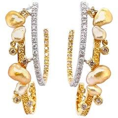 Keshi Pearl and Diamonds Hoop Earrings in 18 Karat Gold