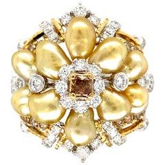 Keshi Pearl and Diamonds Ring in 18 Karat Gold