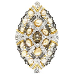 Keshi Pearl and Diamonds Transformable Piece in 18 Karat Gold