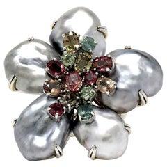 "Keshi Pearl, Multi-Color Sapphire and 18 Karat Gold ""Biwa Flower"" Ring"
