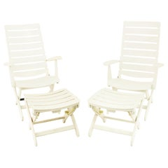 Kettler West Germany Plastic Adjustable Lounge Chairs with Ottomans, Pair
