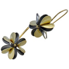 Keum-Boo Star Anis Flower Earrings in Sterling Silver and 24 Karat Gold