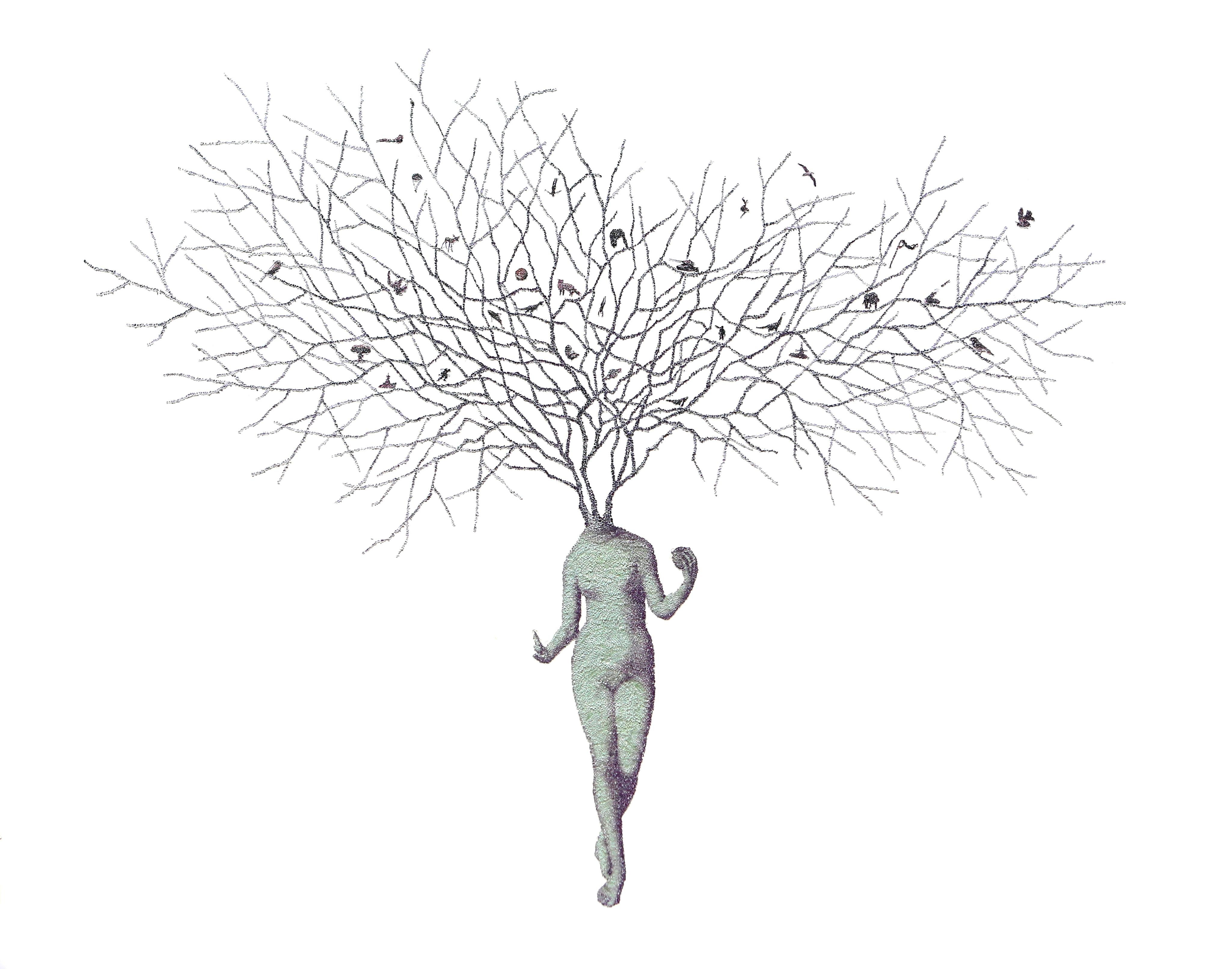 From Eden #10 - contemporary collage light green woman figure with tree branches