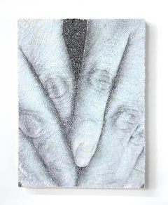 Hide #4- intricate collage of torn and pasted photograph of hands on wood panel