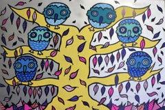 Autumn Owls, Painting, Acrylic on Canvas