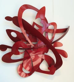 """68 Jay"", Contemporary Abstract Metal Wall Relief Sculpture in Red"