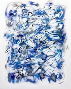 """Bluejay"", Kevin Barrett, Abstract Wall Relief Sculpture in Painted Aluminum"