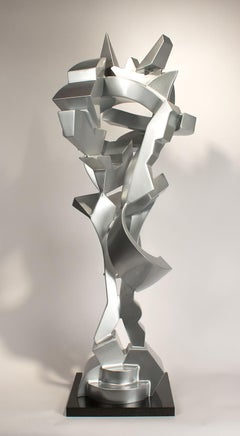 """Christos""  Abstract Aluminum Metal Sculpture, Silver, Indoor, Outdoor"