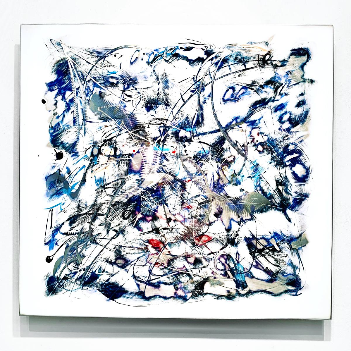 """""""Crystal"""", Abstract Wall Relief Sculpture, Acrylic Painting on Carved Aluminum"""