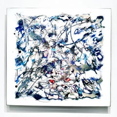 """Crystal"", Abstract Wall Relief Sculpture, Acrylic Painting on Carved Aluminum"