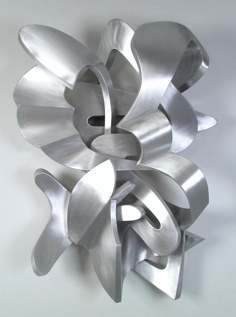 "Kevin Barrett Abstract Sculpture - ""Fernande"", Contemporary Abstract Metal Wall Relief Sculpture in Silver"