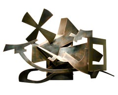 """Flow"", Abstract Bronze Metal Wall Relief Sculpture by Kevin Barrett"