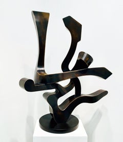 """Free Spirit"", Kevin Barrett, Unique Bronze Abstract Tabletop Sculpture"