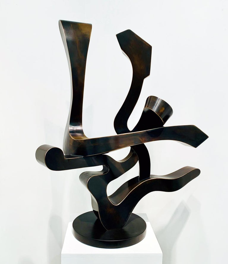 """""""Free Spirit"""", Kevin Barrett, Unique Bronze Abstract Tabletop Sculpture - Gold Abstract Sculpture by Kevin Barrett"""