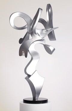 """""""Harp""""  Abstract Aluminum Metal Sculpture, Silver, Indoor, Outdoor"""