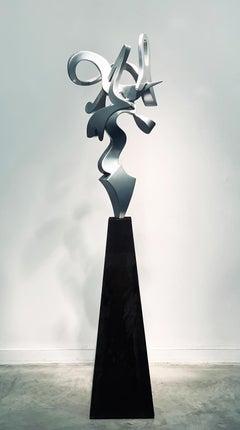 """""""Harp""""  Abstract, Aluminum Metal Sculpture, Silver, Indoor, Outdoor"""