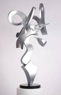"""Harp"", Kevin Barrett, Contemporary Abstract Sculpture, Aluminum, Metal, Silver"