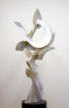 """Ignite 6"", Fabricated Stainless Steel Abstract Metal Sculpture by Kevin Barrett"