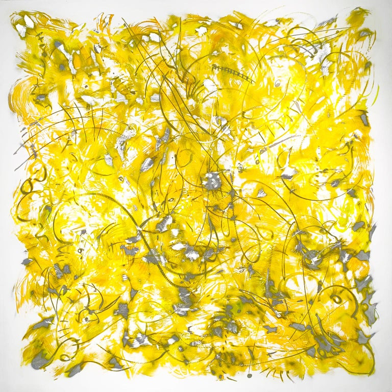 """""""Mellow"""" by Kevin Barrett Acrylic and epoxy on carved aluminum panel  Barrett is noted for creating unique, rhythmic, abstract indoor and outdoor sculpture and wall reliefs.  Paintings, Wall Relief, Sculptural Wall Piece, Metal, Aluminum, Silver,"""