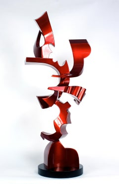 """Queen of Hearts""  Abstract Aluminum Metal Sculpture, Red, Indoor, Outdoor"