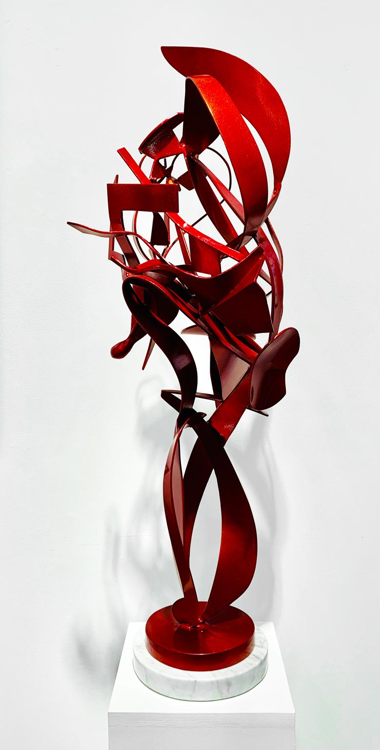 """""""Red Feather"""", Kevin Barrett, Tabletop Abstract Sculpture in Red Painted Metal"""