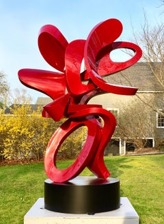 """Scarlet""  Large Outdoor Abstract Aluminum Metal Sculpture, Contemporary"