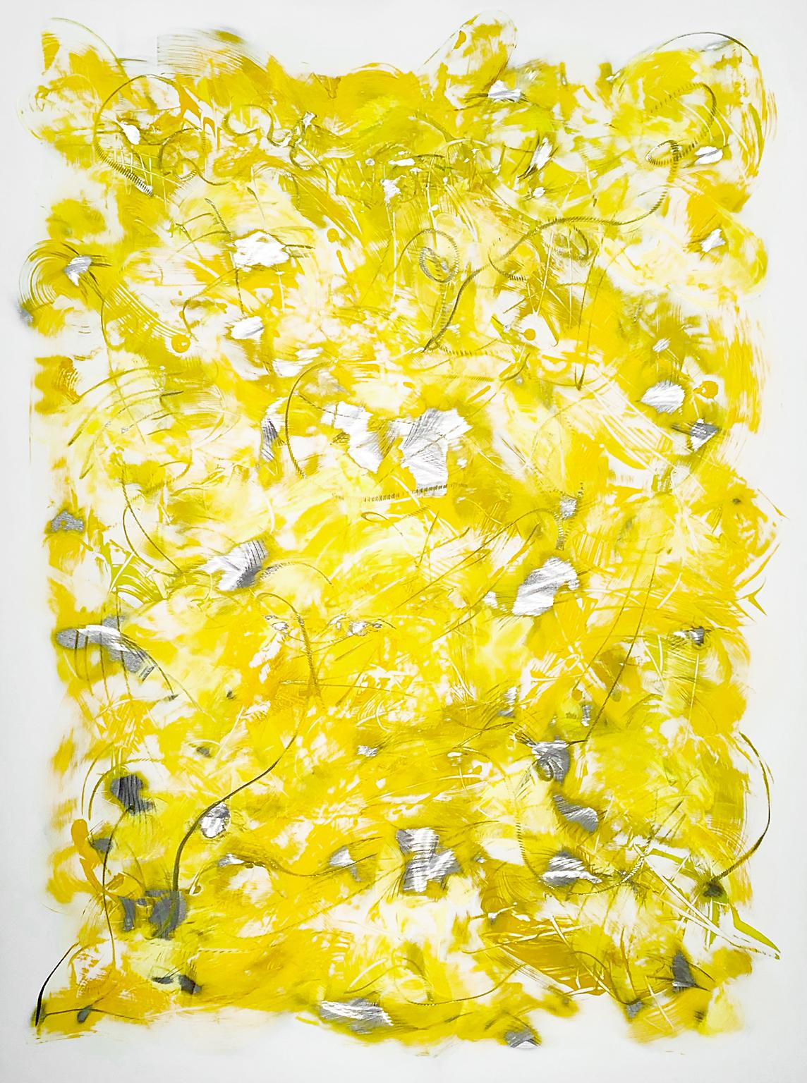"""""""Untitled Yellow"""", Abstract, Acrylic Painting on Aluminum Panel by Kevin Barrett"""