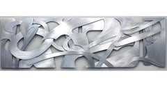 """Velocity"" Abstract Metal Wall Relief Sculpture in Welded Aluminum, Contemporary"