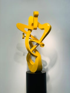 """""""Yellow Angel"""" Colorful, Organic, Abstract Metal Sculpture in Aluminum"""