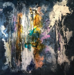 Dark Blue Contemporary Abstract Painting 'Beneath The Depths' by Kevin Burton