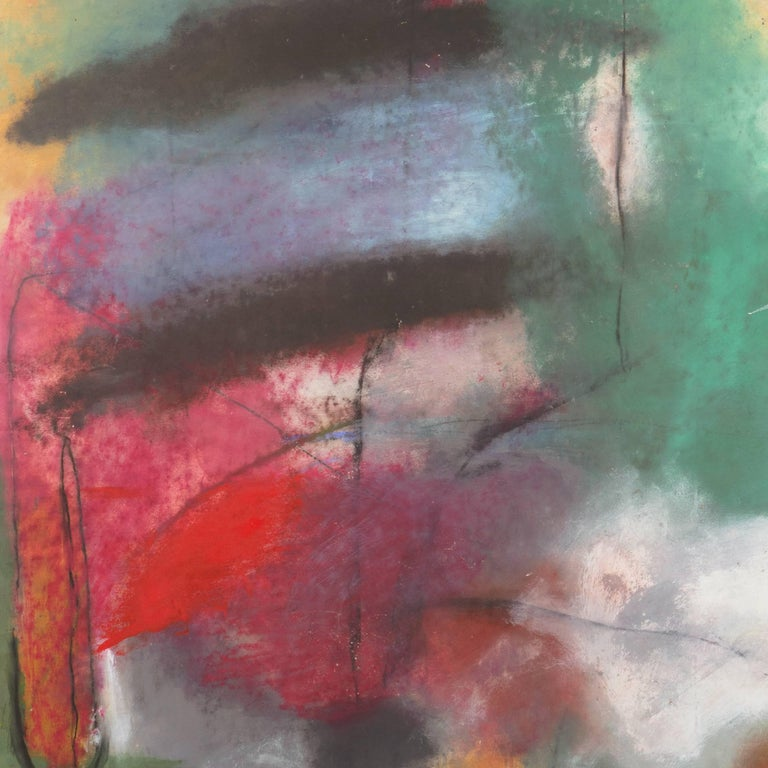 Large Bay Area Oil 'Abstract in Charcoal and Teal', San Francisco Art Institute For Sale 1