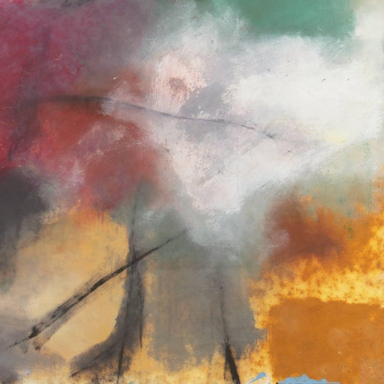 Large Bay Area Oil 'Abstract in Charcoal and Teal', San Francisco Art Institute For Sale 4