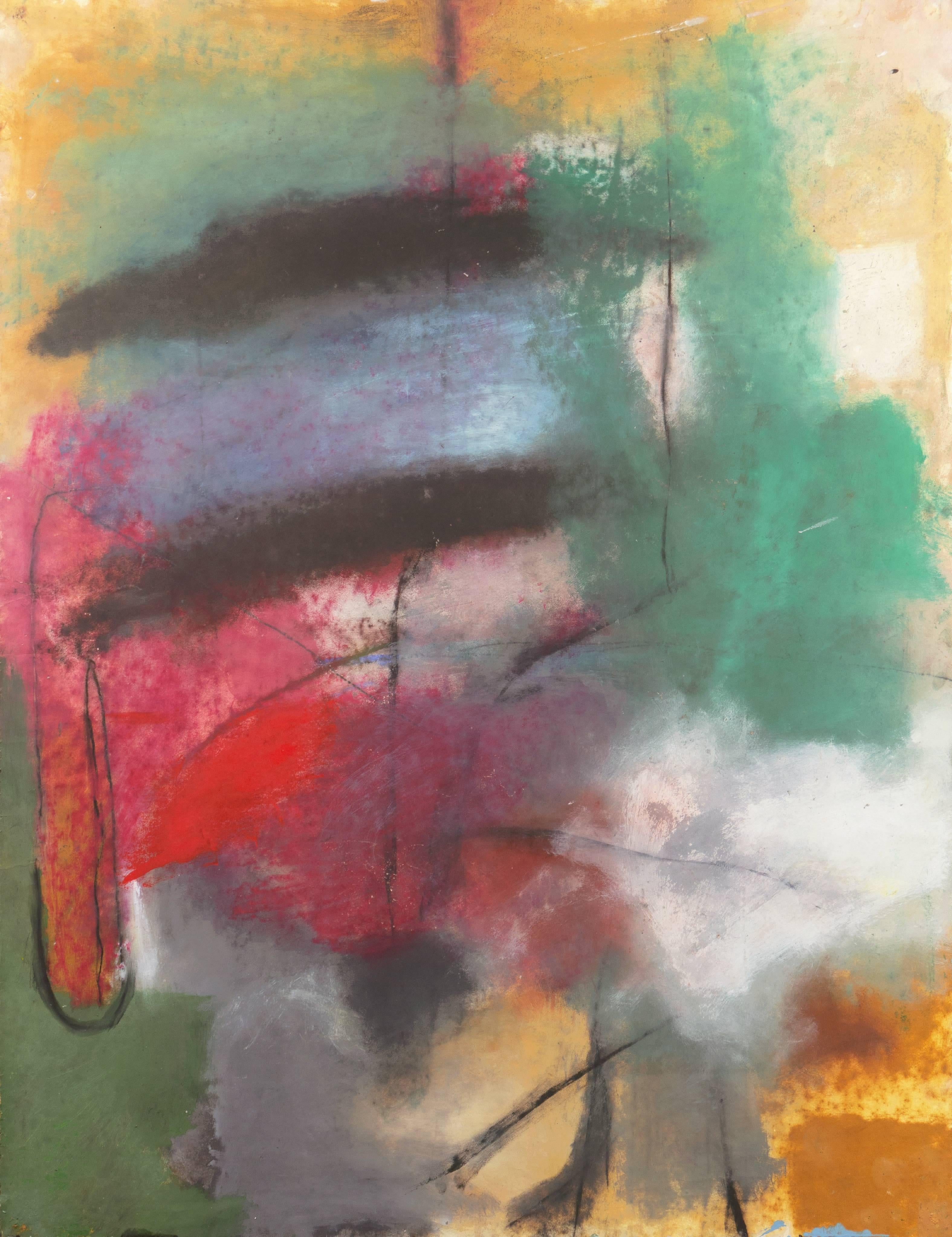'Abstract in Charcoal and Teal', Large Bay Area Oil, San Francisco Art Institute