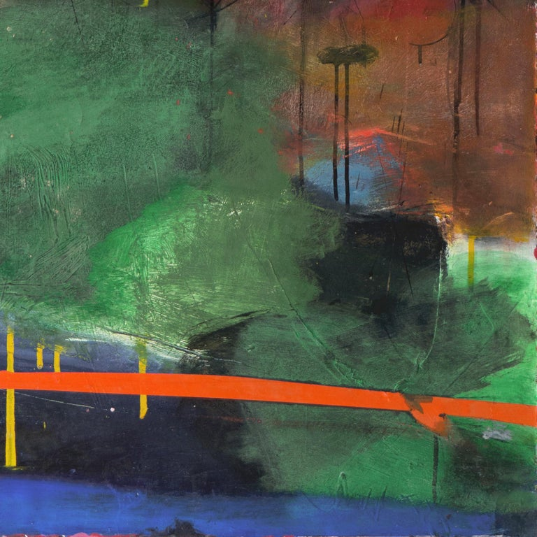 Large Bay Area Oil 'Abstract in Green and Gold', San Francisco Art Institute - Painting by Kevin Keaney
