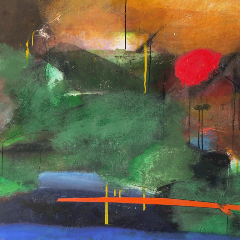 Large Bay Area Oil 'Abstract in Green and Gold', San Francisco Art Institute - Abstract Expressionist Painting by Kevin Keaney