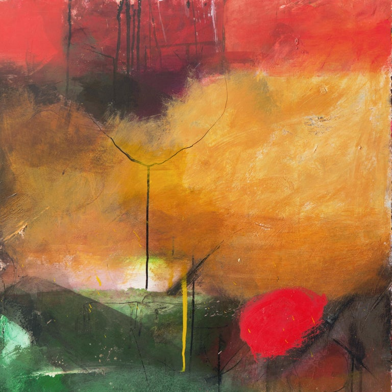 Large Bay Area Oil 'Abstract in Green and Gold', San Francisco Art Institute - Gray Abstract Painting by Kevin Keaney
