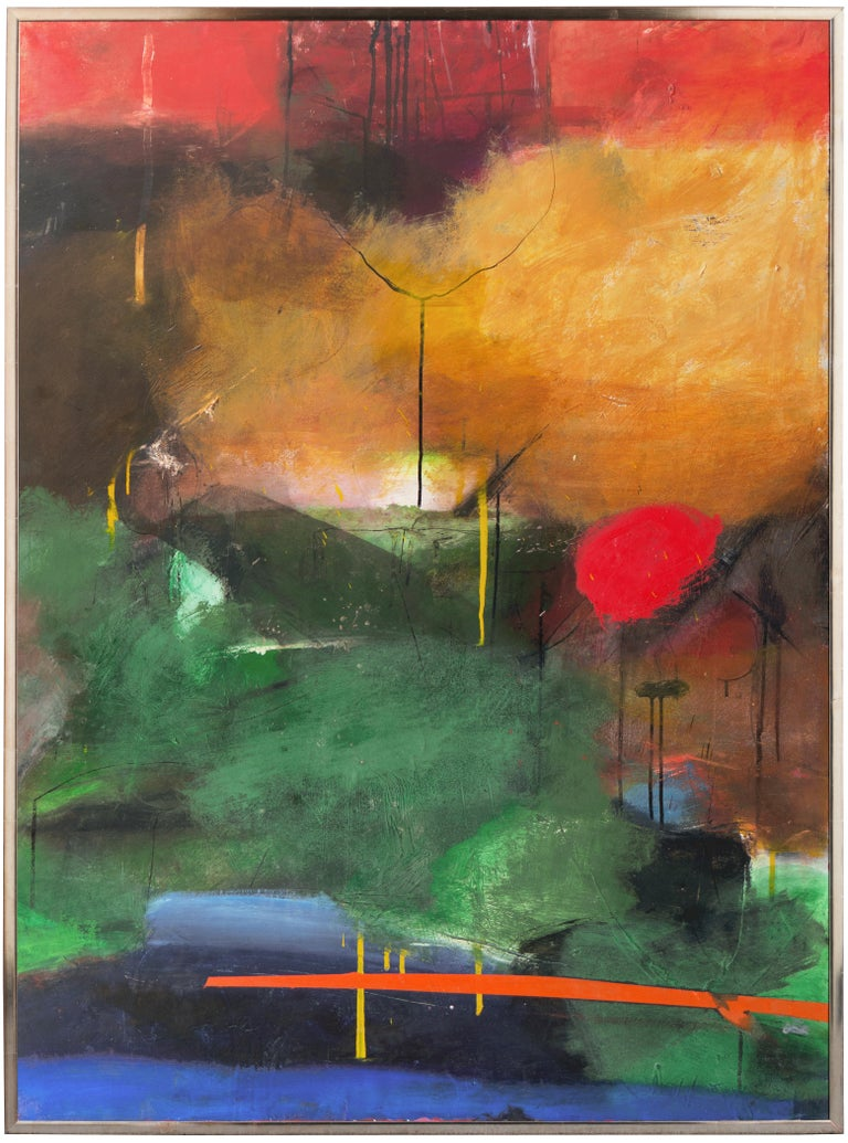 Large Bay Area Oil 'Abstract in Green and Gold', San Francisco Art Institute 3