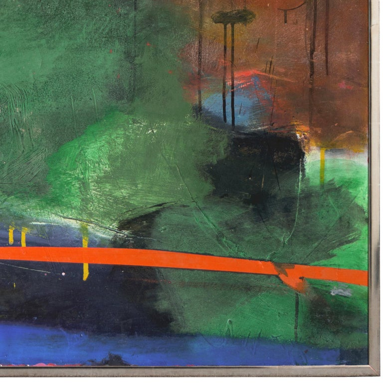 Large Bay Area Oil 'Abstract in Green and Gold', San Francisco Art Institute 4