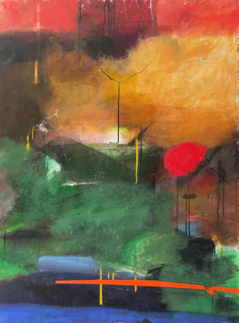 Kevin Keaney Abstract Painting - Large Bay Area Oil 'Abstract in Green and Gold', San Francisco Art Institute